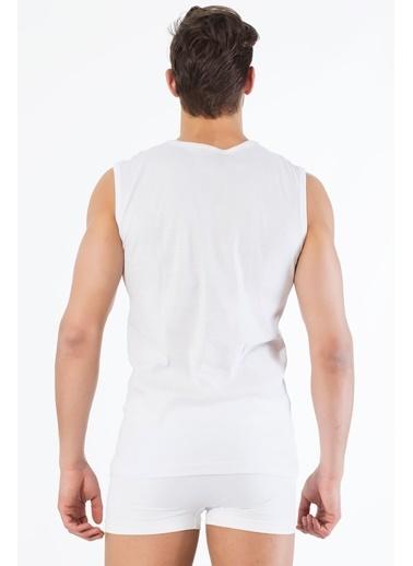Siyah İnci 2'li Pamuklu V Yaka Kolsuz T-Shirt Beyaz